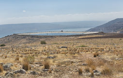 Pit to collect rainwater on Mount Arbel. In Israel Stock Images