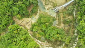 Pit and waterfall. Philippines. Aerial View. stock video footage