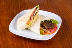 Pita with beef. And vegetables Stock Photos