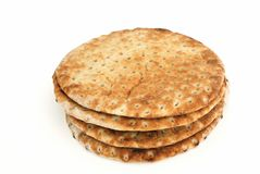 Pita bread. Pita flat bread on white background Royalty Free Stock Photography