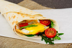 Pita Bread with Arugula and Fried Egg Stock Photos