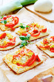 Pita bread baked with cheese and leek Stock Photography