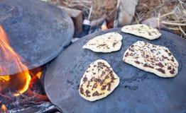 Pita bread baking on a Saj or Tava. On Lag Baomer Royalty Free Stock Photos