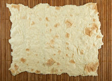 Pita bread on a bamboo mat. Can be used as texture Stock Photography