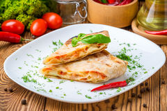 Pita bread with cheese Royalty Free Stock Photo