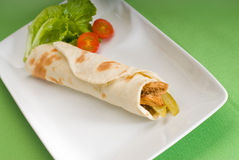 Pita bread chicken roll Royalty Free Stock Image