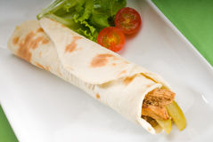 Pita bread chicken roll Stock Images