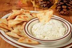 Pita Bread Crackers and cheese dip Stock Photos