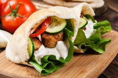 Pita bread with falafel and fresh vegetables Stock Photography