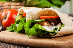 Pita bread with falafel and fresh vegetables Stock Image