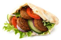 Pita bread filled with falafel. Stock Photo