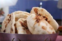 Pita Bread, flatbread leudado, pan árabe, pan libanés Imagen de archivo libre de regalías