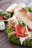 Pita bread with Kebab on wood royalty free stock photography