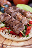 Pita bread and meat skewer Royalty Free Stock Image