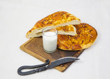 Pita bread with milk on a tray Royalty Free Stock Photo