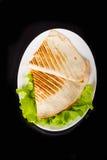 Pita bread pizza on fresh lettuce Stock Photography