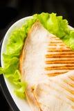 Pita bread pizza on fresh lettuce Stock Image