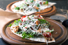 Pita bread with roasted vegetables and cheese Royalty Free Stock Image