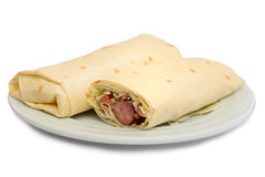 Pita bread roll with sausage Royalty Free Stock Photos