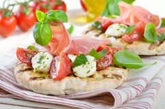 Pita bread with salad and ham Stock Photos