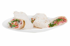pita bread with salmon on a plate Royalty Free Stock Images