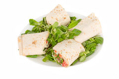 Pita bread with salmon on a plate Royalty Free Stock Image