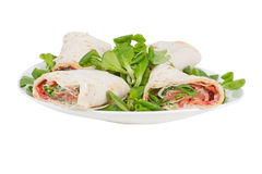 Pita bread with salmon on a plate Royalty Free Stock Photography