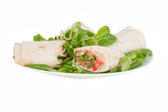 Pita bread with salmon on a plate Stock Photography