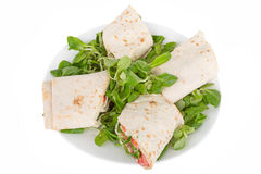 Pita bread with salmon on a plate Stock Photos