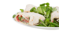 Pita bread with salmon on a plate Stock Image