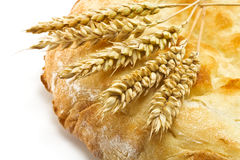 Pita bread and spikelets Royalty Free Stock Photography