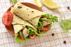Pita bread stuffed with vegetables and fish Royalty Free Stock Images