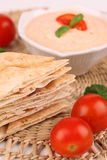 Pita bread and tomato dip Stock Images