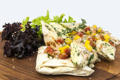 Pita bread with vegetables Royalty Free Stock Photography