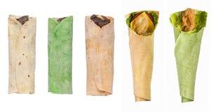 Pita bread on a white background. Assortment and variety of pita bread on a white background isolated stock photos