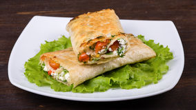 Pita bread wrapped with cottage cheese Stock Photo
