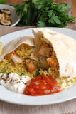 Pita with chicken and couscous Stock Photography