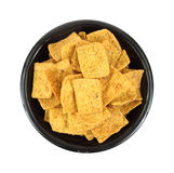 Pita chips in a black bowl Royalty Free Stock Images