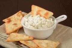 Pita chips and dip Stock Photography