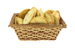 Pita Chips Garlic Chives Basket Stock Image