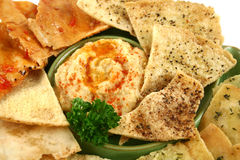 Pita Crisps And Hommus Stock Photo