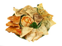 Pita Crisps And Hommus Royalty Free Stock Photos