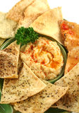 Pita Crisps And Hommus stock images