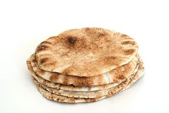 Pita flat bread. On white background Stock Image