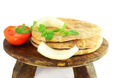 Pita flat bread or nan closeup in pure white background Stock Images