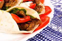 Pita meat. BBq and vegetables in tortila Stock Photo