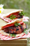 Pita with meat Stock Image