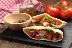 Pita with meat and vegetables Royalty Free Stock Photo