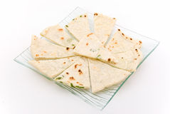 Pita on the plate. Plate with pita on white background Royalty Free Stock Photo