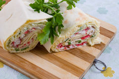 Pita roll with crab sticks Royalty Free Stock Photography